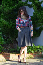 plaid Forever 21 shirt - stripe H&M shirt - foley & corinna bag