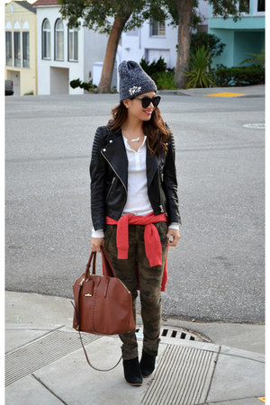 asos boots - asos hat - leather H&M jacket - thermal Gap shirt