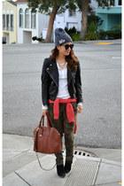 asos boots - asos hat - leather H&M jacket - thermal Gap shirt