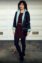 everly dress - asos boots - H&M jacket - unknown jacket - Rebecca Minkoff bag