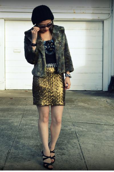 H&M skirt - f21 hat - unknown jacket
