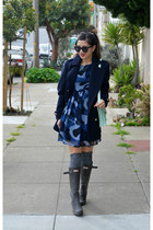 Hunter boots - babydoll Boohoo dress - H&M coat - loeffler randall bag