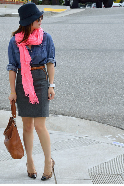 leopard cap-toe Loft heels - Reiss hat - chambray thrifted shirt - Zara scarf