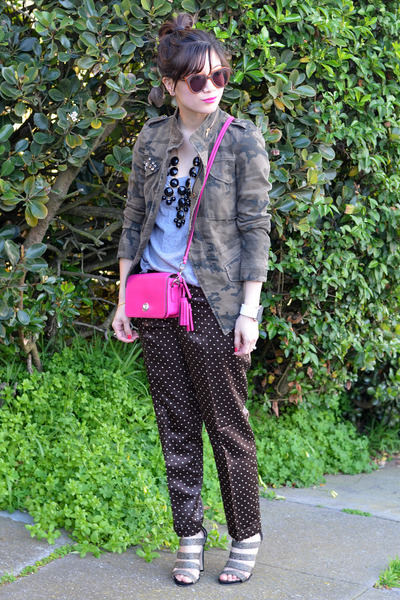 Coach Legacy Penny purse - camo Zara jacket - polka dot JCrew pants