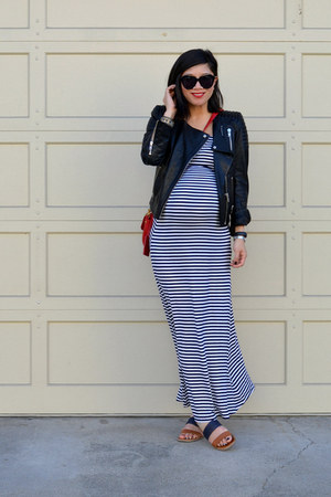 stripe maxi Forever 21 dress - leather H&M jacket - crossbody tory burch bag