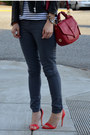Leather-h-m-jacket-forever-21-jeans-stripe-h-m-shirt-tory-burch-bag
