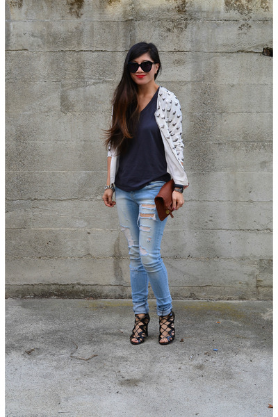 distressed Ross jeans - sequin thrifted jacket - clutch Claire Vivier bag