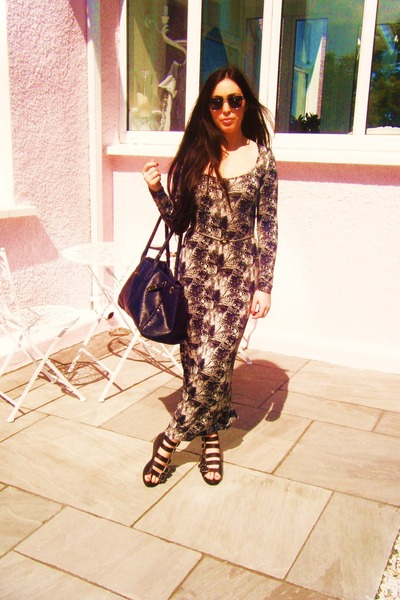 maxi dress H&M dress - croc hermes vintage bag - wayfayers vintage sunglasses -