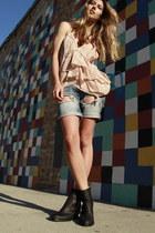 boyfriend Hurley shorts - pistol acne boots - silk Isabel Marant vest