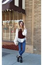 denim acne jeans - balenciaga boots - cameron Phillip Lim bag