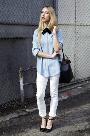 velvet Saint Laurent tie - maryjanes Repetto shoes - lace Isabel Marant jeans