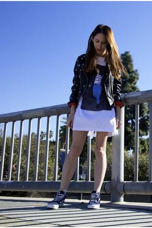 mock acne jacket - winona perfect 69 t-shirt - navy Vans sneakers