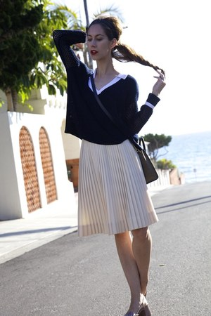 pleated skirt vintage skirt - TABULA RASA sweater - coach sandals