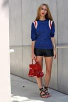 leather vintage shorts - raglan vintage top