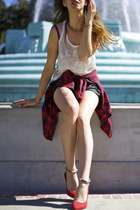 jersey Isabel Marant top - flannel Kill City shirt - acne shorts