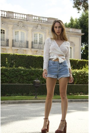 eyelet Zimmermann top - ashley Topshop shorts - velvet asos heels