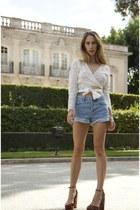 eyelet Zimmermann top - ashley Topshop shorts - velvet asos heels
