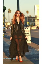sheer Agent Provocateur dress - waxed moto april 77 jacket - Isabel Marant heels