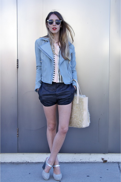 sky blue denim TheySkens Theory jacket - silk JF & Son shirt - acne shorts
