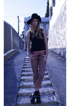 suede hope vest - cut-out balenciaga boots - vintage hat - Isabel Marant pants
