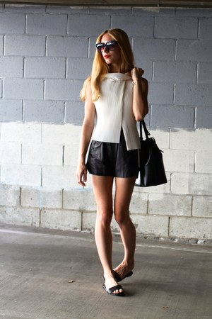 pleated JW Anderson top - bucket Mansur Gavriel bag - maia acne shorts