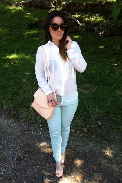 Peach Shirt White Pants White Zara Shirt Peach Zara