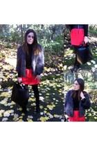 red Zara skirt - black Topshop boots - charcoal gray faux fur coat Mango coat