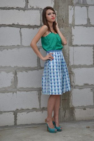 sky blue polka dots Pimkie skirt - turquoise blue heels shoes