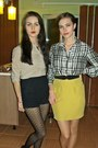 Ivory-silk-zara-shirt-mustard-skirt-black-vintage-belt