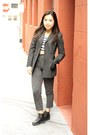 gray American Apparel pants - dark gray J Crew coat