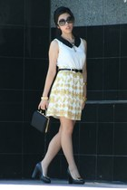 black vintage bag - gold OASAP dress - black Chanel sunglasses
