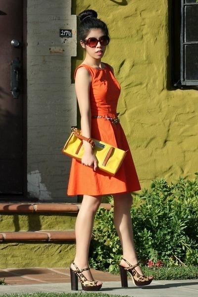 orange Betsey Johnson necklace - carrot orange eShakti dress