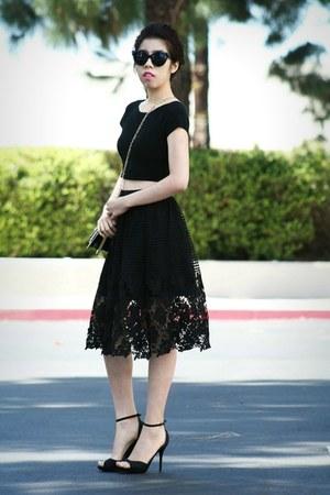 black Zac Posen bag - black skirt - black Steve Madden heels - black INC top