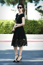 black Zac Posen bag - black skirt - black Steve Madden heels - black INC top