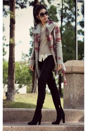 black suede Ivanka Trump boots - black J Brand jeans - black Forever 21 jacket