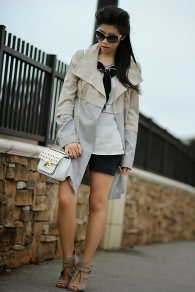 white Michael Kors bag - off white Tahari coat - navy Zara shorts
