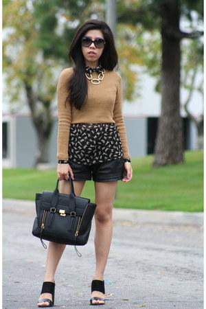 tan Topshop top - black 31 Phillip Lim bag - black leather shorts