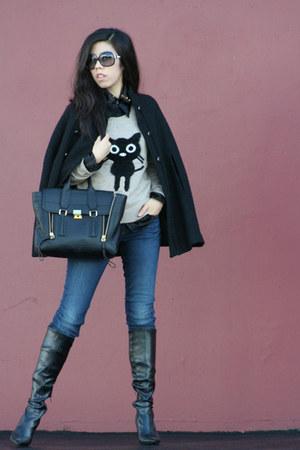 black Nine West boots - navy J Brand jeans - brown cliche sweater