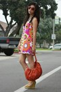 Hot-pink-handmade-dress-carrot-orange-charles-david-bag