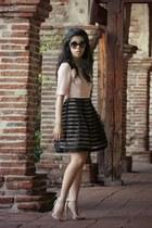 light pink OASAP dress - black Chanel sunglasses - beige Steve Madden heels
