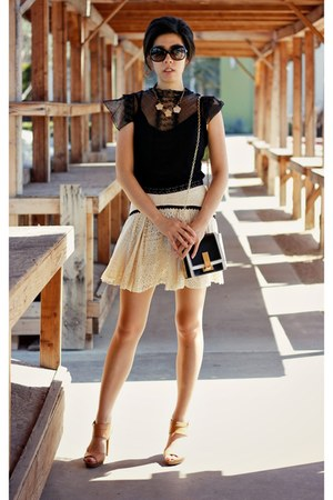 black Zac Posen bag - beige free people skirt - tan coach heels - black Zara top