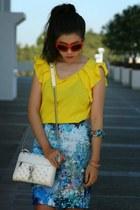 turquoise blue TJ Maxx ring - white Rebecca Minkoff bag
