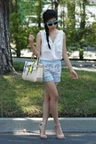 beige Reed Krakoff bag - sky blue Carmen Marco Valvo shorts - white top