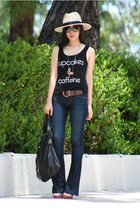navy Paige jeans - eggshell hat - black 31 Phillip Lim bag