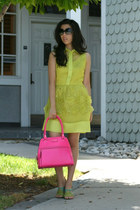 chartreuse OASAP dress - hot pink kate spade bag - black Chanel sunglasses