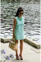 aquamarine Fashion Union dress - tan Reed Krakoff bag - black Chanel sunglasses