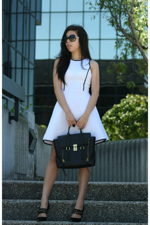 black 31 Phillip Lim bag - white dress - black baldinini heels