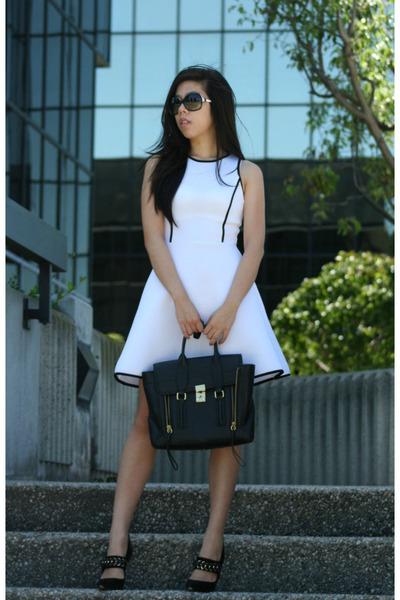 black 31 Phillip Lim bag - white dress - black baldinini heels