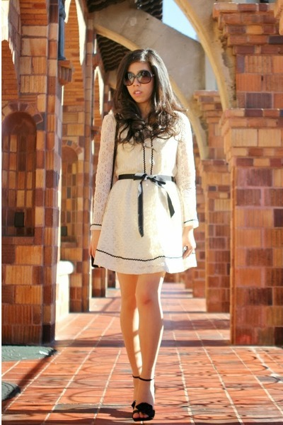 black vintage bag - ivory OASAP dress - black Chanel sunglasses