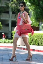 coral Z spoke bag - bubble gum dress - black Chanel sunglasses